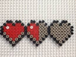8 bit minecraft hearts hama bead necklace