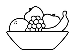 fruit bowl clipart black and white. Simple Clipart Bowl Of Fruit Fruits With Orange Banana Grapes And Apples Line Art Icon  For And Fruit Clipart Black White 123RFcom