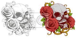 Fototapeta šedá Lebka S červenou Růží Tetováním