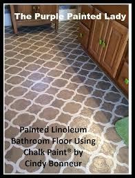 the purple painted lady painted linoleum floor bathroom annie laquer chalk paint