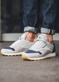 reebok shoes for men style. reebok classic leather sm in \u0027sand \u0026 blue ink\u0027 shoes for men style