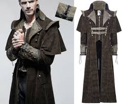 steampunk pirate coat gothic dandy cape denim leather lacing straps punkrave men for