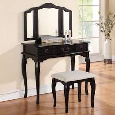image is loading tri folding mirror black wood vanity set makeup