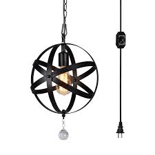 plug in overhead lighting. HMVPL Plug-In Industrial Globe Pendant Lights With 15 Ft Hanging Cord And Dimmable On Plug In Overhead Lighting
