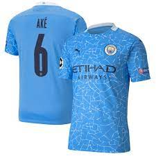 Manchester City Authentic UEFA Home Shirt 2020-21 with Ake 6 printing