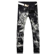 Designer Pants Phillip Dudley New Fashion Mens Wolf Printed Jeans Men Slim