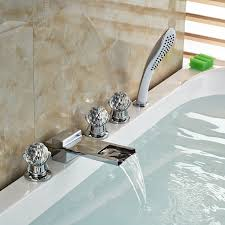paris crystal handle chrome finish waterfall bathtub faucet with pullout handheld shower
