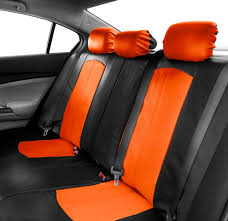 deluxe faux leather car seat covers sport top quality orange for car suv 3
