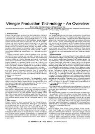Industrial Production Of Vinegar Flow Chart Pdf Vinegar Production Technology An Overview