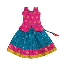 Kids Designer Pattu Pavadai Baby Girls Kids Designer Raw Silk Fancy