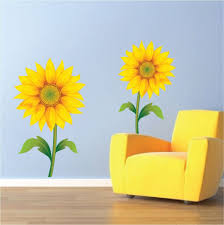 awesome tropical outdoor wall decor the wall art design sunflower scheme of sunflower wall stickers