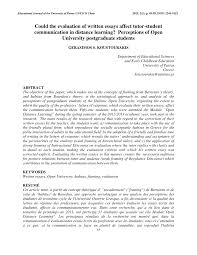 could the evaluation of written essays affect tutor student  could the evaluation of written essays affect tutor student communication in distance learning perceptions of open university postgraduate students pdf