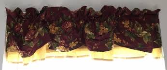 waverly garden room fl manor valance double layer tuck red gold 72 x 18