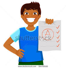 happy kid presenting essay test good stock vector  happy kid presenting an essay or test a good grade