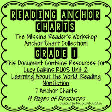 Lucy Calkins Reading Workshop Anchor Charts 1st Grade Ruos Unit 2