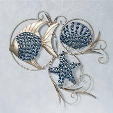 mirror wall decor circle panel: ocean gems fish and seashell metal wall art