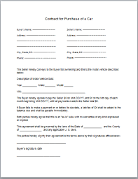 Purchase Agreement Vehicle Car Sale Agreement Template Lofts At Cherokee Studios