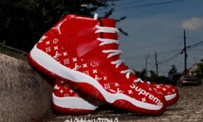 jordan x supreme. cashh customs drops these magnificent custom lv x supreme air jordan 11 in red and white. 11\u0027s look really nice the white