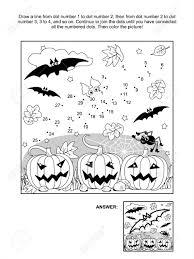 Verbind De Stippen Foto Puzzel En Kleurplaat Scène Van Halloween