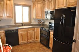 Kitchen : Natural Color Wooden Cabinet And Modern Black Cabinet To ...