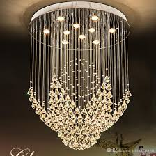 k9 crystal chandeliers led lamp modern chandelier lights fixture home indoor lighting hotel hall lobby stair round long crystal drop light rectangle