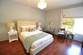 fantastic bedroom design with blue gray walls paint colorivory leather tufted bed headboard white nightstands white lamps gray greek key pillow blue grey paint colors view