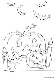 Coloriage Halloween Citrouilles Chandelle Chauve Souris Dessin