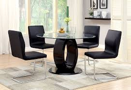 modern black round dining table. Amazon.com - Furniture Of America Quezon Round Glass Top Pedestal Dining Table, Black Tables Modern Table