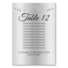 Zazzle Size Chart Silver Gradient Flourish Wedding Seating Chart Table Number