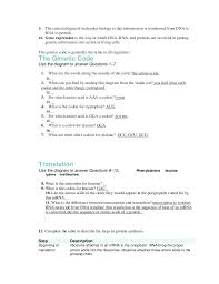 Worksheet On Dna Rna and Protein Synthesis Answer Key Awesome 12 1 ...