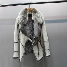 <b>100</b>% <b>genuine</b> sheepskin leather with fur coat with <b>fox</b> fur collar slim ...