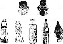 インクとボトルとチューブ絵の具 イラストレーションのベクターアート