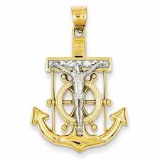 mariner cross pendant 14k two tone gold qgcr c3715