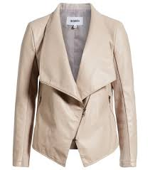 bb dakota gabrielle faux leather asymmetrical jacket in parchment an angled zip and cutaway front