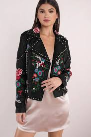 leather jackets black breaking bloom embroidered pleather jacket
