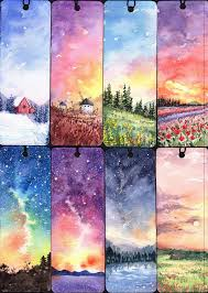 watercolor scenery bookmarks pretty painting ideas