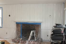 Living Room Wood Paneling Decorating Decoration Chic Paint Wood Paneling With Brick Fireplace And