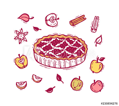 Apples To Apples Card Template Vector Food Hand Drawn Doodle Apple Pie Fruits Apples Spices