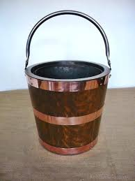 copper fireplace wood bucket circular coopered coal bucket in oak and copper home design free