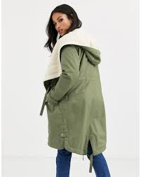 Asos Design Waterfall Parka With Borg Liner Asos Design Maternity Waterfall Parka With Borg Lining In Khaki