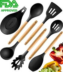 premium cooking utensils set 100 eco friendly silicone wooden healthy kitchen utensils best home cooking utensils nonstick heat resistant wooden