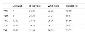 Under Armour Girls Size Chart World Of Reference