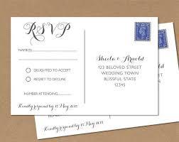 Rsvp Card Sizes Postcard Rsvp Card Wedding Rsvp Postcard Any Colour 4x6
