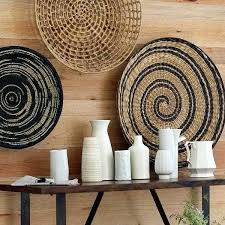 rattan wall art modern wall decoration with ethnic wicker plates bowls and baskets large wicker wall rattan wall art fish wall art wicker