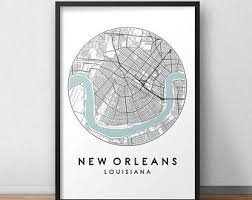 new orleans city print street map art new orleans map poster new orleans map print city map wall art new orleans map travel poster on map of new orleans wall art with new orleans map etsy