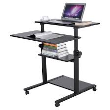 wood mobile standing desk height adjule computer workstation prime stand up designing home 7