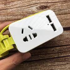 Ổ cắm điện mini tiện dụng kèm 2 cổng USB sạc điện thoại - Ổ cắm điện Thương  hiệu OEM