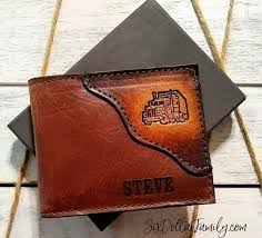 this personalized semi truck wallet is one of the gift ideas for truck drivers that i got for steve it is absolutely gorgeous and i wanted to highlight it