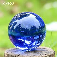 Decorative Marble Balls XINTOU Blue Crystal Sphere Ball Natural Feng shui Decorative Glass 60