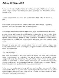 How To Critique An Essay Article Critique Example Sample Apa Format Basic Guide To